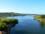 The view of the Kafue river downstream from the dam